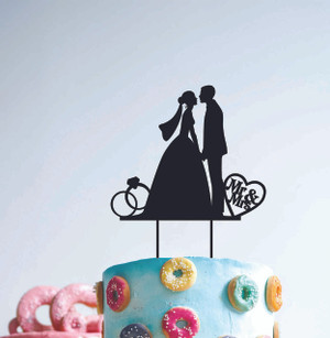 Mr & Mrs Couple Wedding Silhouette - Wood Cake Topper / wooden topper