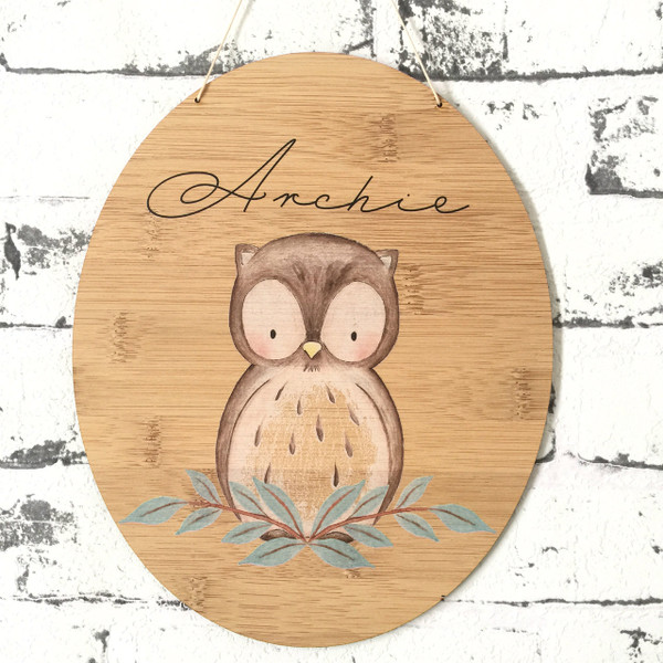 Personalised watercolour woodland owl bamboo plywood wall hanging