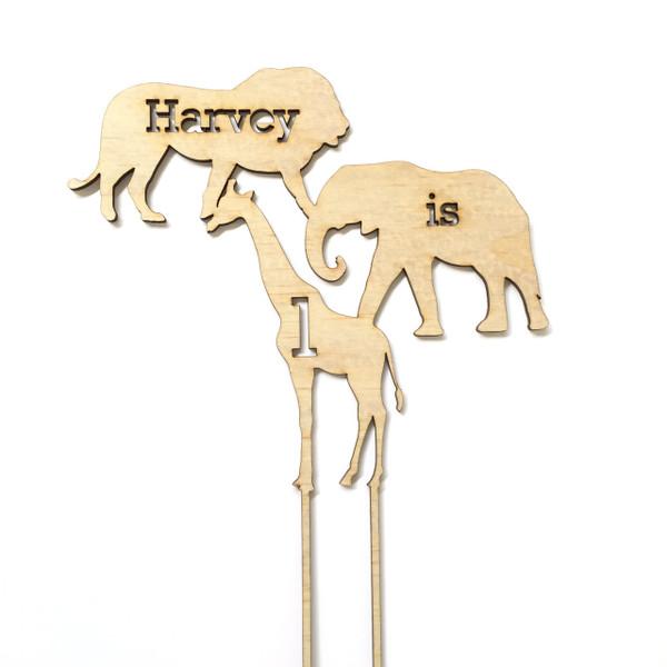 Jungle Animals - Personalised Name Wood cake topper birthday decoration
