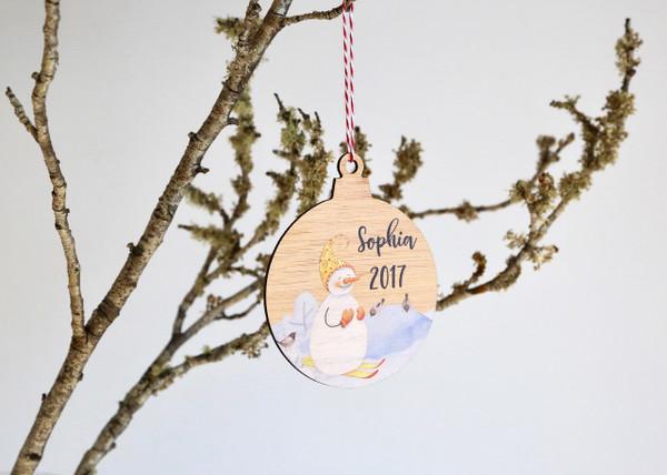 Coloured - UV Printed - Personalised snowman tree decoration