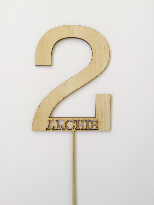 2 Personalised Name Wood cake topper birthday decoration