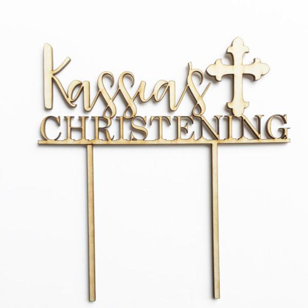 Custom Christening - Personalised Name Wood cake topper birthday decoration