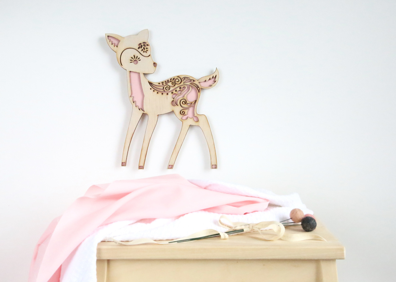 A woodlands silhouette - Deer timber wall hanging