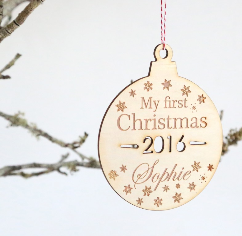 First Christmas Personalised Name Christmas ball/bauble plywood tree decoration