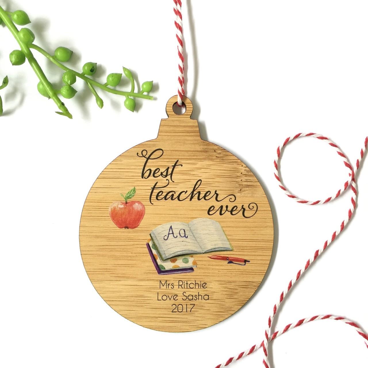 Best Teacher - UV Printed - Personalised Single front image snowman Christmas tree decoration