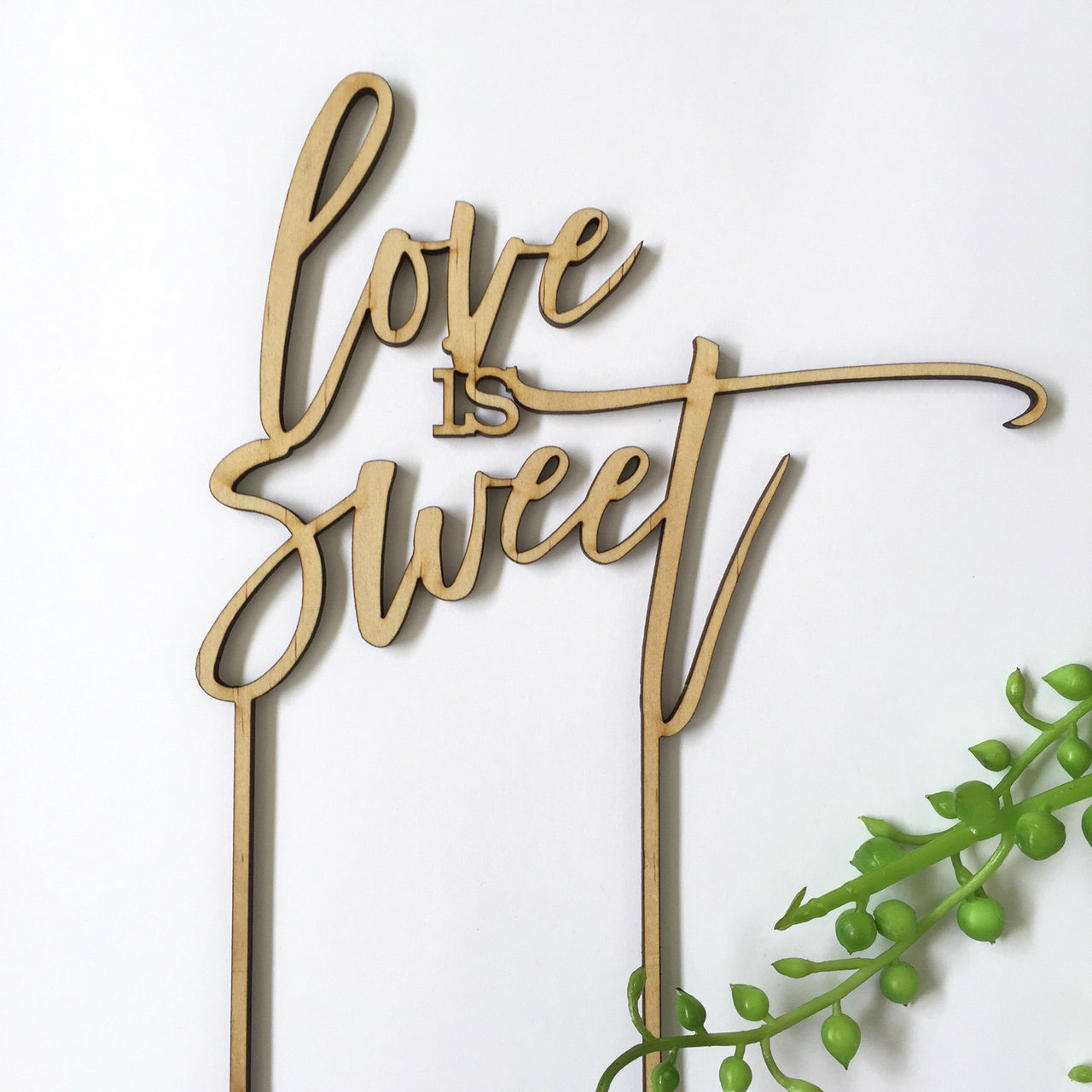 Love is sweet - Engagement Anniversary- Wood Cake Topper / wooden topper