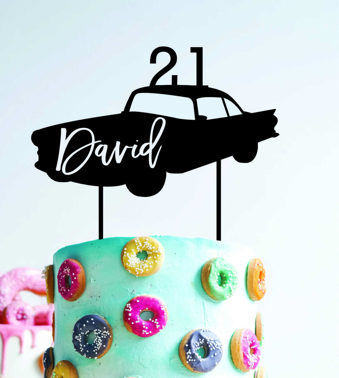 Classic Car - Custom name - birthday  - Personalised Name Wood cake topper birthday decoration