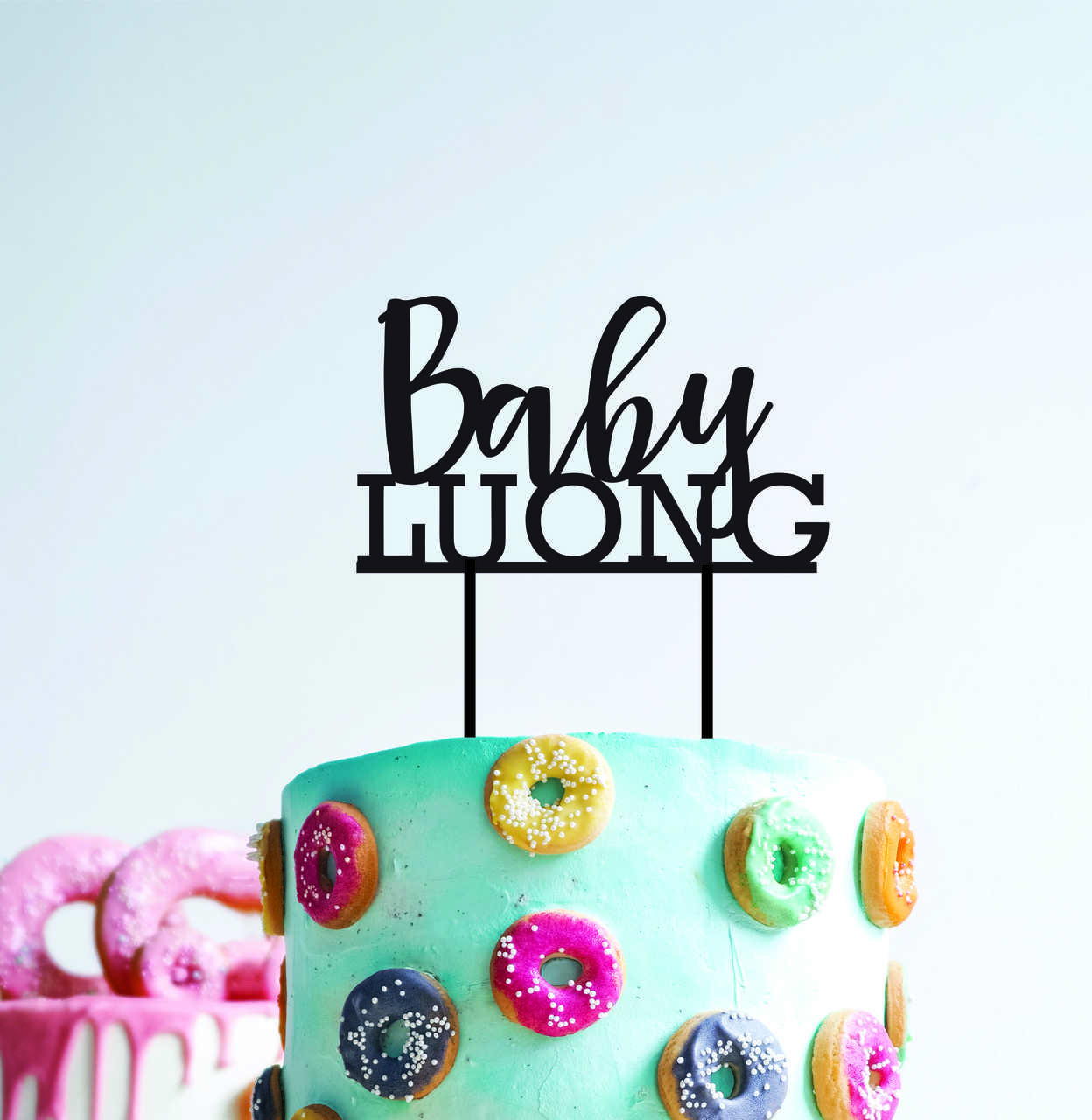 Baby Shower - Personalised with surname - Custom surname with thin font
