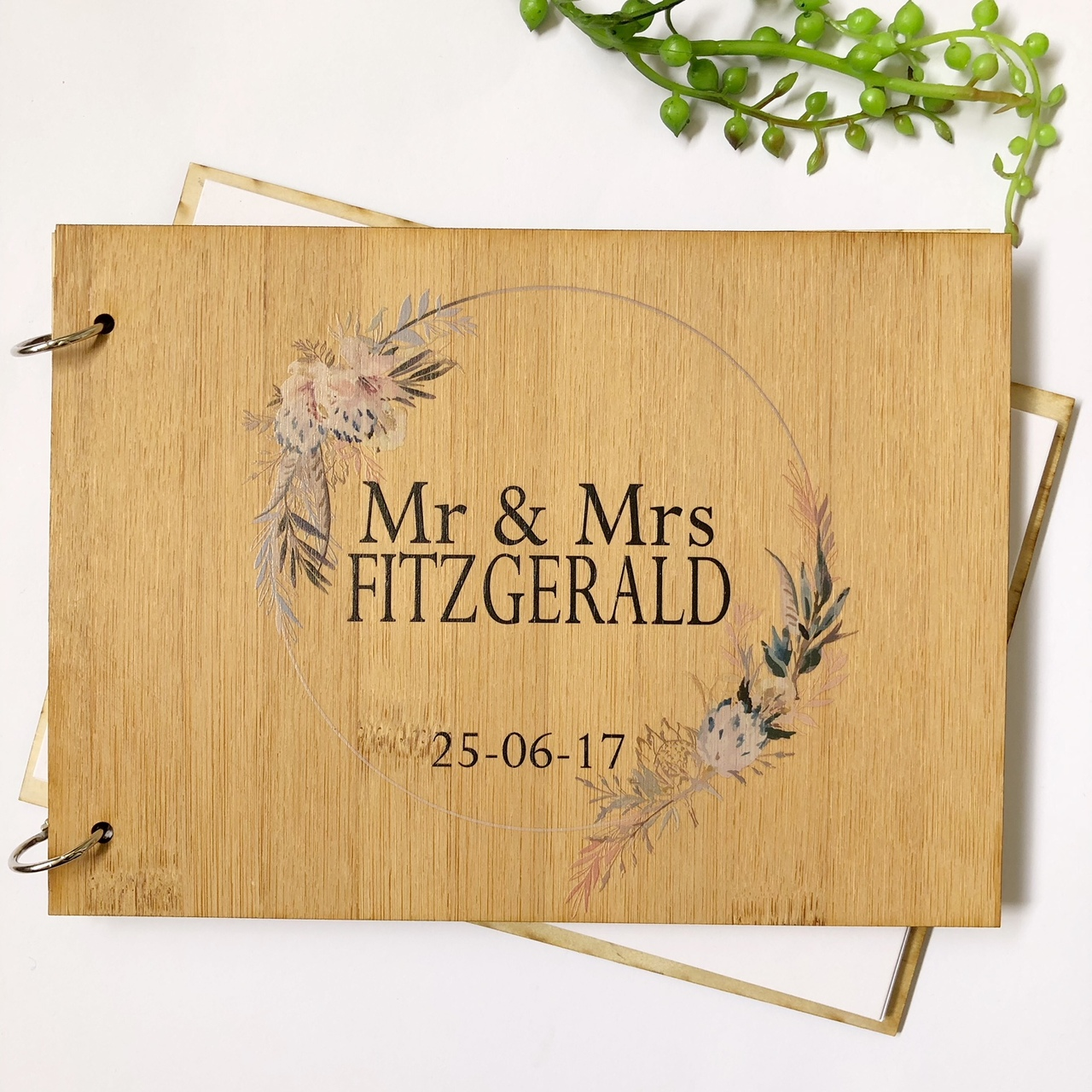 Boho Wedding guest book - personalised