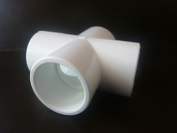 Side view of 20mm PVC cross from Klever Cages