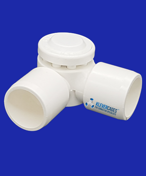 2 way adjustable connector from Klever Cages fits 20mm PVC plumbing pressure pipe.