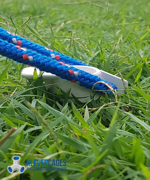 Rope connected to a PVC 15mm pipe stake from Klever Cages