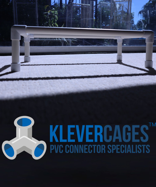 Side view of a small PVC frame for a small dog/cat bed from Klever Cages