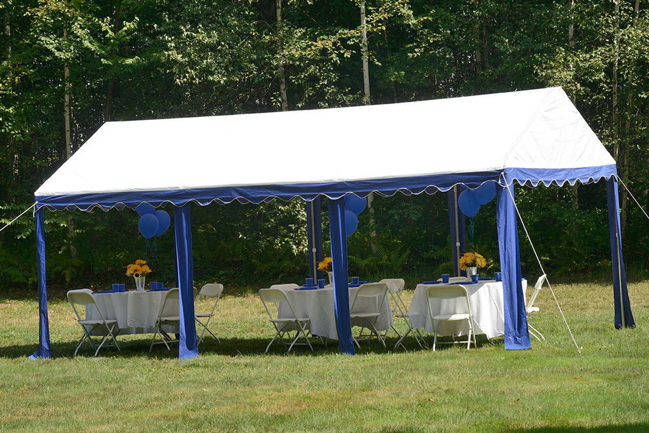 10x20 Party Tent 8-Leg Galvanized Steel Frame Blue/White Cover & 10x20 Party Tent 8-Leg Galvanized Steel Frame Blue/White Cover ...