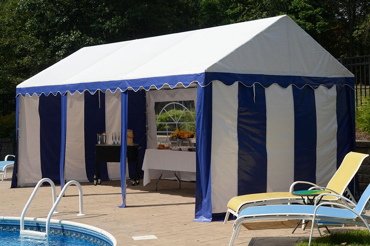 10x20 Party Tent 8-Leg Galvanized Steel Frame Blue/White with Enclosure ... & 10x20 Party Tent 8-Leg Galvanized Steel Frame Blue/White with ...