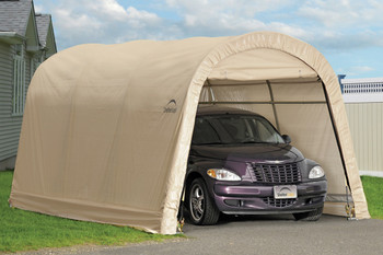 10x15x8 Round Style Auto Shelter Sandstone Cover ... & Shelters/Garages - Economy Shelters - Shelters of New England