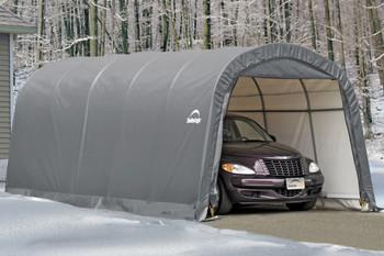 12x20x8 Round Style Garage in a Box Grey