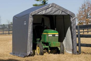 10x10x8 Peak Style Storage Shed Grey