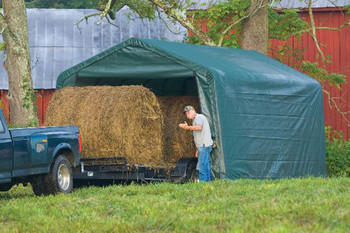 12x20x8 Peak Style Hay Storage Shelter Green