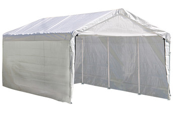 """10x20 Canopy 2"""" 8-Leg Frame White Cover, FR Rated Enclosure Kit"""