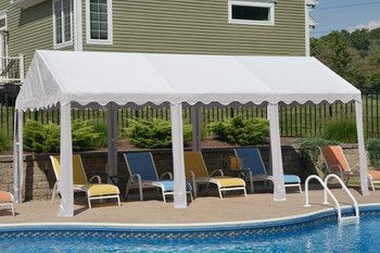 10x20 Party Tent, 8-Leg Galvanized Steel Frame, White Cover