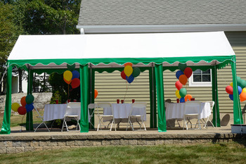 10x20 Party Tent, 8-Leg Galvanized Steel Frame, Green/White Cover