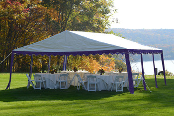 20x20 Party Tent, 8-Leg Galvanized Steel Frame, Blue/White Cover