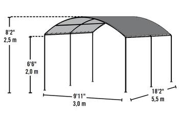 "10x18 Monarc Canopy, 2"" Steel Black Frame, Sandstone Cover"