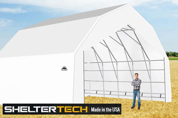 ShelterTech SP Series 30' Wide Barn Available in Multiple Heights - Galvanized Frame