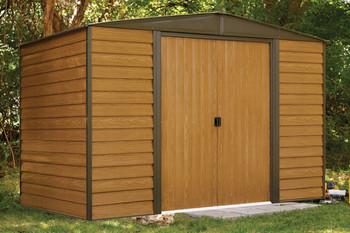 Woodridge 10' x 6' Electro Galvanized Steel - Coffee / Woodgrain