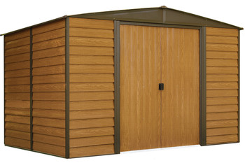 Woodridge 10' x 8' Electro Galvanized Steel - Coffee / Woodgrain