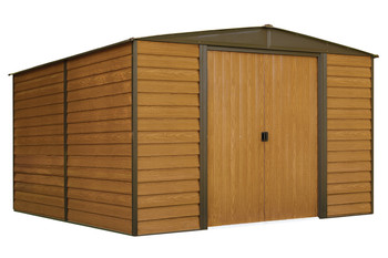 Woodridge 10' x 12' Electro Galvanized Steel - Coffee / Woodgrain