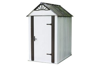 Designer™ Metro Shed, 4' X 6' Hot Dipped Galvanized Steel - Java / Sand