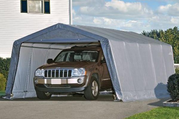 12x20x8 Peak Style Garage in a Box Grey