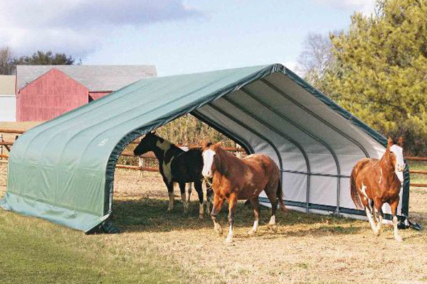 22x20x11 Peak Style Run-In Shelter Green