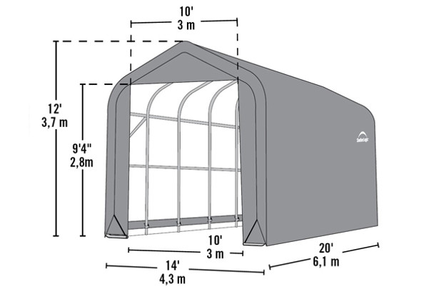 14' Wide x 12' High Peak
