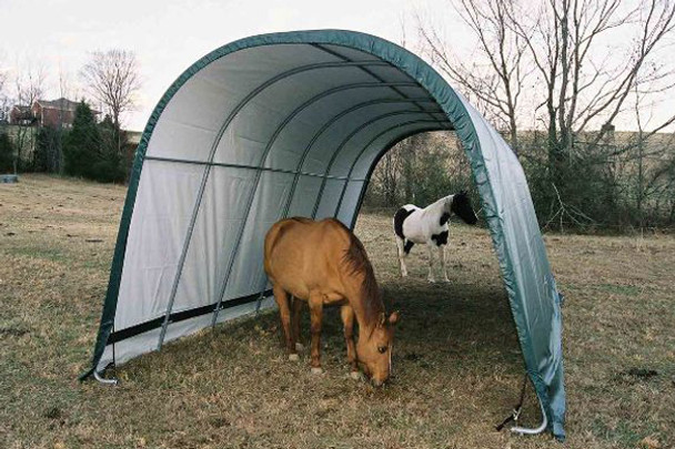 13x20x10 Round Style Run-In Shelter Green