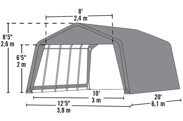 12x20x8 Peak Style Hay Storage Shelter Green