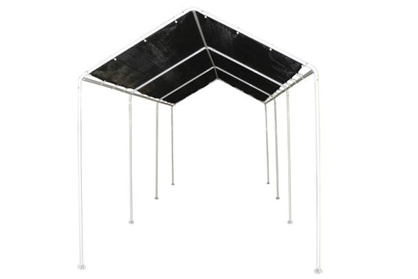 8x20 Canopy, 8-Leg Frame, Black Polyethylene Mesh Cover