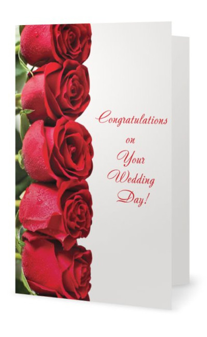 Wedding Greeting Card Row of Red RosesThe Bride here comes the