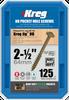"Kreg HD WR Protec-Kote Pocket Screws - 2-1/2"", #14 Coarse, Washer-Head, 125 Count (SML-C2X250-125)"