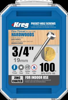"Kreg Zinc Pocket-Hole Screws 3/4"", #6 Fine, Pan-Head, 100 Count (SPS-F075-100)"
