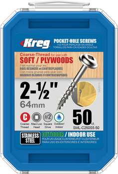 "Kreg Stainless Steel Pocket-Hole Screws 2-1/2"", #10 Coarse, Washer-Head, 50 Count (SML-C250S5-50)"