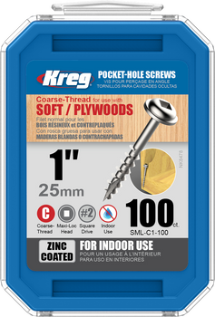 "Kreg Zinc Pocket-Hole Screws  1"", #8 Coarse, Washer-Head, 100 Count (SML-C1-100)"