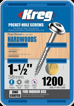 "Kreg Zinc Pocket-Hole Screws 1-1/2"", #7 Fine, Washer-Head, 1200 Count (SML-F150-1200)"