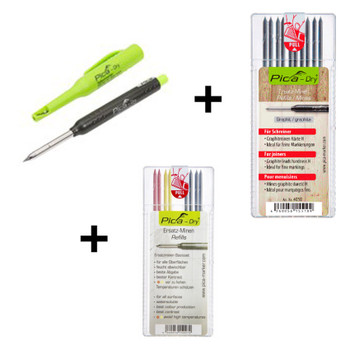 "Pica Dry Pencil 3030 plus Refill - BASIC 4020 + Refill - ""H"" Hardness 4050 Trilogy Pack (5003)"
