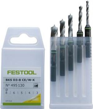 Festool Stubby Brad Point Bit Set 3-8mm  (495130)
