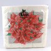 White Christmas Napkins with Poinsettas