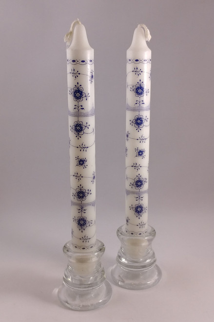 "Classic Blue Fluted pattern candles  2.3cm/24cm (1""/9.5"")"