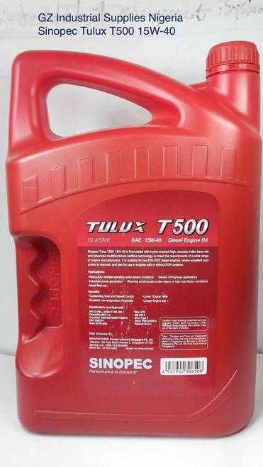 Sinopec Tulux T500 15W-40 Premium Classic Diesel Engine Oil Ci-4,  5liters Keg